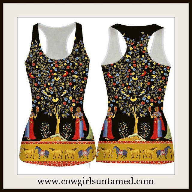 HORSE LOVIN' COWGIRL TOP Horse Tree of Life Stretchy Racerback Tank Top