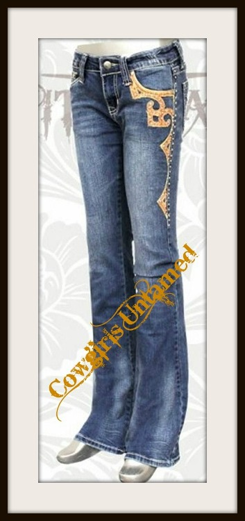 MONTANA WEST JEANS Silver Studded N Brown Leather Trim Mid Rise Stretchy Boot Cut Western Jeans
