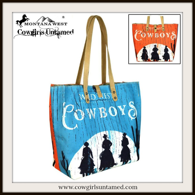 "COWGIRL STYLE TOTE ""Wild West COWBOYS"" with Cowboy Silhouette Western Tote"