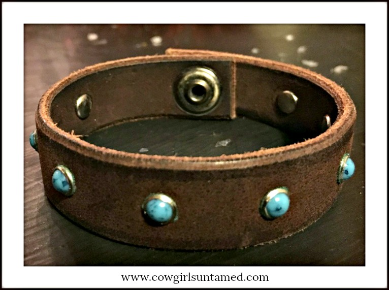 COWGIRL GYPSY CUFF Turquoise Studded Brown Leather Cuff Bracelet