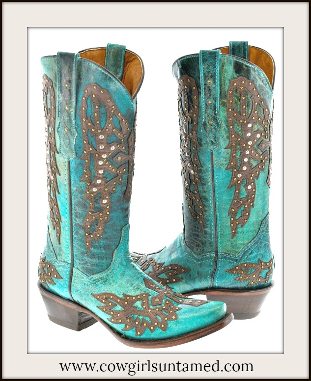 COWGIRL STYLE BOOTS Antique Bronze & Rhinestone Studded Winder Brown Cross on Teal GENUINE Leather Boots
