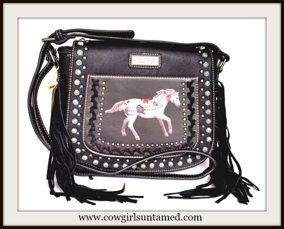 MONTANA WEST HANDBAG TRAIL of PAINTED PONIES Image on Fringe Leather Messenger Bag