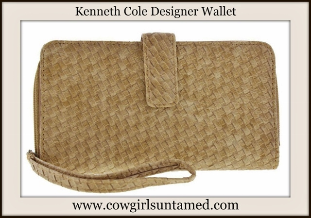 COWGIRL STYLE WALLET Tan Basketweave Leather Designer Wallet Wristlet