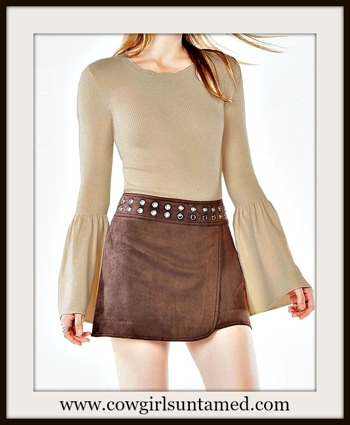 COWGIRL GYPSY SWEATER Tan Ribbed long Bell Sleeve Fitted Retro Sweater