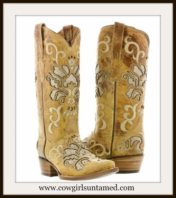 COWGIRL STYLE BOOTS Tan Embroidery and Underlay on Light Brown Distressed LEATHER Boots