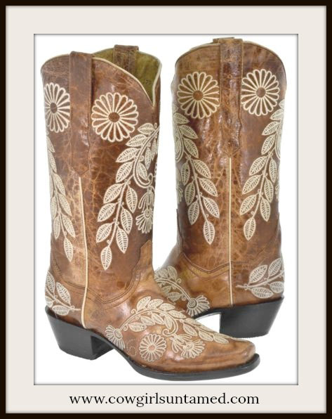 COWGIRL STYLE BOOTS Tan Floral Embroidery on Brown Boho GENUINE LEATHER Boots
