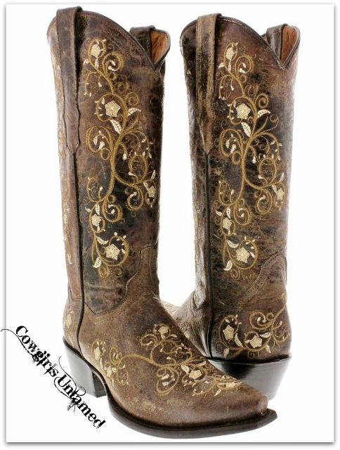COWGIRL STYLE BOOTS Tan Floral Embroidered Tall Brown GENUINE LEATHER Western Boots with Heel
