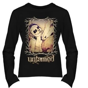 """COWGIRL GYPSY LS TEE Black N' Tan """"Untamed"""" with Branch Framed Artisan Hand Drawn Cowgirl Sugar Skull Long Sleeve Western T-shirt"""
