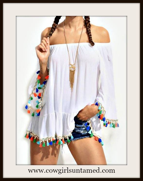 COWGIRL GYPSY TOP Off the Shoulder Multi Color Tassel Trim Loose Fit White Bohhemian Top