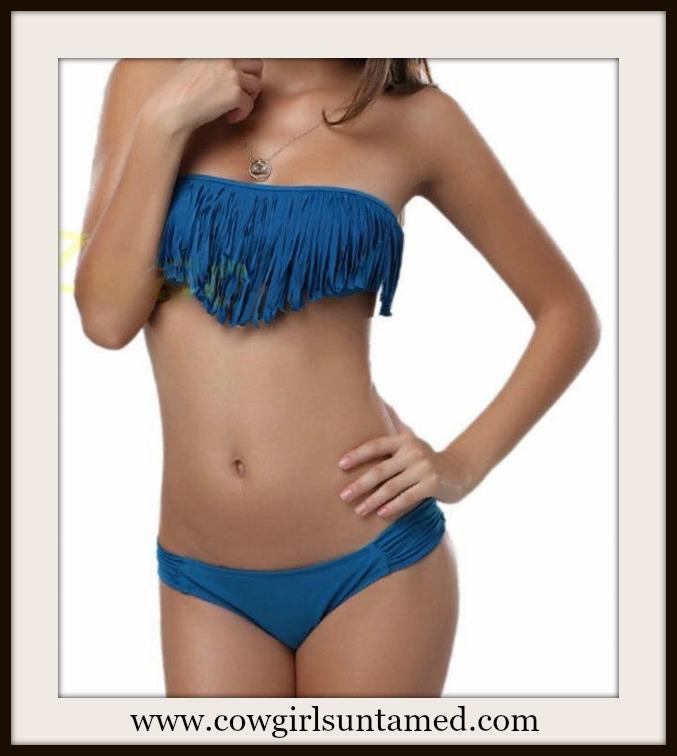 COWGIRL STYLE BIKINI Teal Blue Strapless Fringe Western Bikini