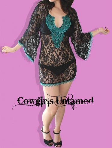 COWGIRL GYPSY COVER UP Teal Crochet Lace Trim on Black Lace Western Bikini Coverup