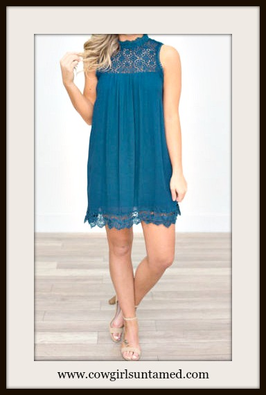 WILDFLOWER DRESS Teal Lace Crochet High Neckline Sleeveless Chiffon Boho Mini Dress