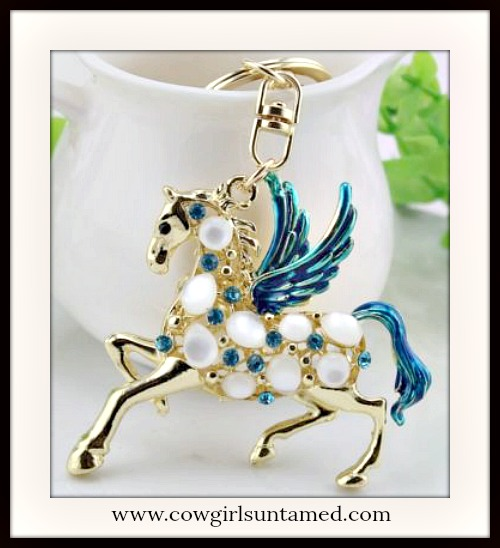 HORSE LOVIN' COWGIRL KEYCHAIN Teal Crystal Golden Pegasus Horse Key Ring