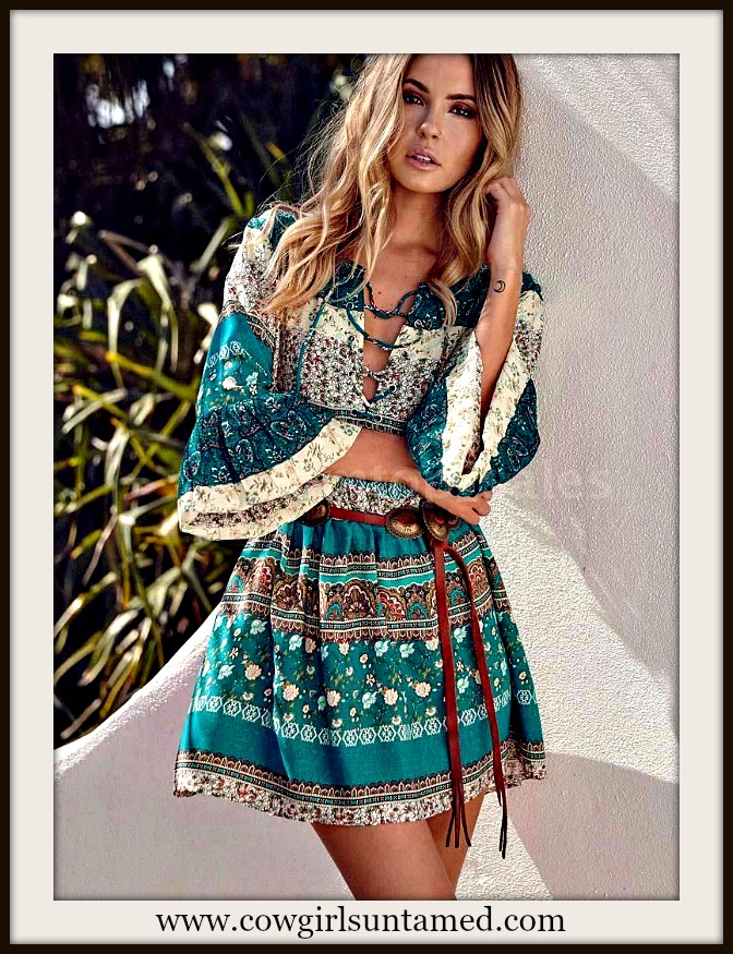 WILDFLOWER DRESS Teal Aztec & Bell Ruffle Sleeve and Hem Lace Up Mini Dress / Tunic Top