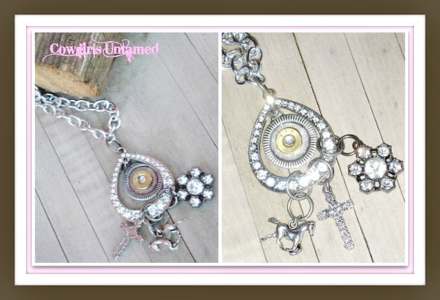 COWGIRL OUTLAW NECKLACE Teardrop Bullet Horse Cross Rhinestone Charm Pendant Silver Chain Western Necklace