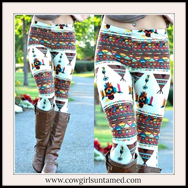 BOHEMIAN COWGIRL LEGGINGS Multi Color & Native American Pattern Leggings