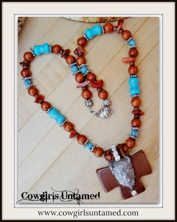 AMERICAN COWGIRL NECKLACE Pewter Buffalo Pendant on Brown & Aqua Turquoise & Cross Rhinestone Western Necklace