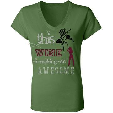 "COWGIRL ATTITUDE TEE Crystal ""This Wine Is Making Me Awesome"" Cowgirl N Grapevine Image on V Neck Short Sleeve Western T-shirt Tee Shirt Top"