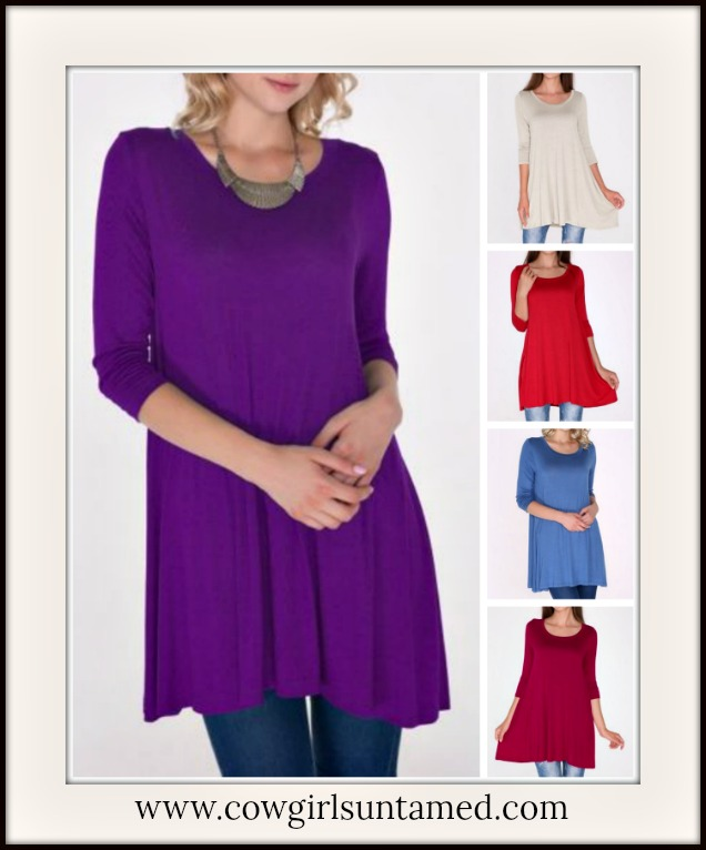 WILDFLOWER TOP Long Boatneck 3/4 Sleeve Tunic Top
