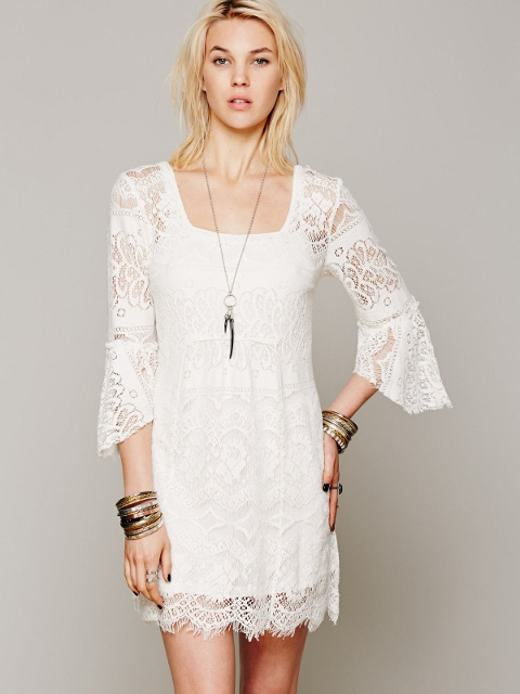 COWGIRL GYPSY DRESS Lace 3/4 Sleeve Square Neck Western Mini Dress Tunic Top