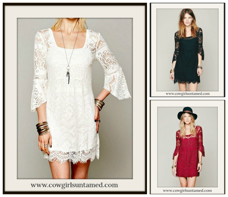 COWGIRL GYPSY DRESS Lace 3/4 Sleeve Square Neck Boho Mini Dress  Free Slip
