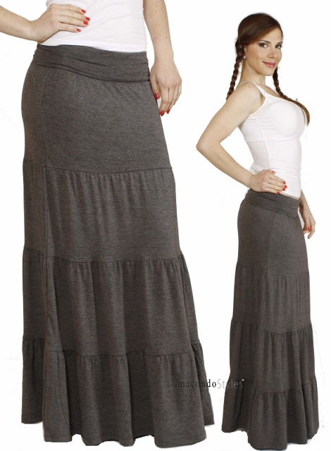 COWGIRL STYLE SKIRT Tiered Banded Waist Jersey Charcoal Grey Western Maxi Skirt