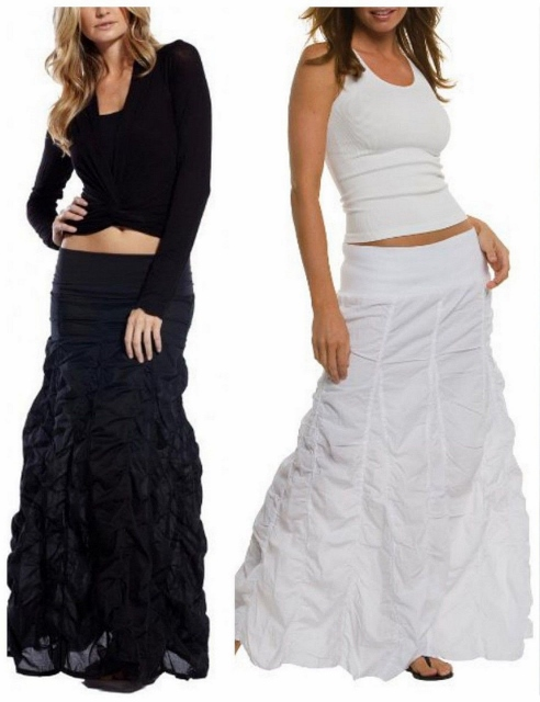 COWGIRL STYLE SKIRT Banded Waist Pickup Tiers Long BLACK Western Maxi Skirt