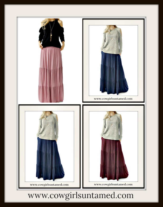 WILDFLOWER SKIRT Tiered Boho Maxi Skirt with Pockets