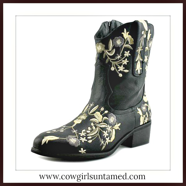 WILDFLOWER BOOTS Floral Embroidered Side Zipper Short Black Leather Designer Boots