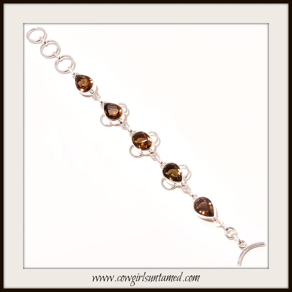 BOHEMIAN COWGIRL BRACELET Smokey Topaz Gemstone Sterling Silver Bracelet