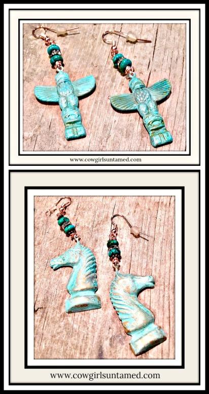 VINTAGE COWGIRL EARRINGS Antique Patina Copper Rhinestone Gemstone Vintage Earrings