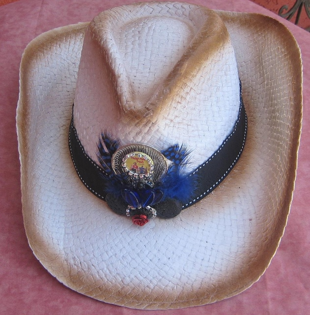 "TRAVELIN' COWGIRL GYPSY HAT ""Trailer Park Trash"" Rhinestone Button Black Lava Blue Bead N Feather Collage on Black Ribbon Hatband Brown Patinaed White Straw Western Hat"