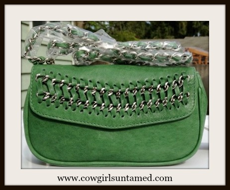 COWGIRL GLAM PURSE Convertible Clutch to Crossbody Style with Chain Green GENUINE Leather Designer Purse