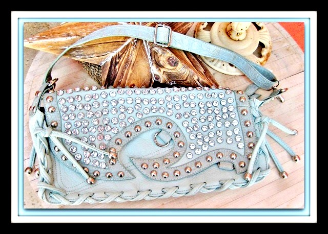 COWGIRL GYPSY PURSE Rhinestone Studded Cross Body Convertible Whipstitch Detail Mint Green GENUINE Leather Western Purse