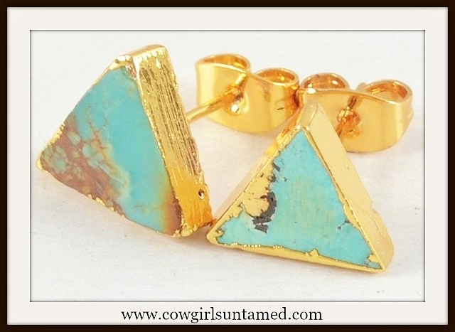WESTERN COWGIRL EARRINGS Triangle Gold Plated Genuine Turquoise Stud Earrings
