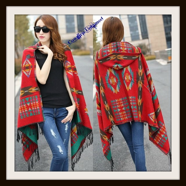 COWGIRL STYLE SWEATER Red Aztec Print Fringe Hooded Hi Lo Hemline Poncho