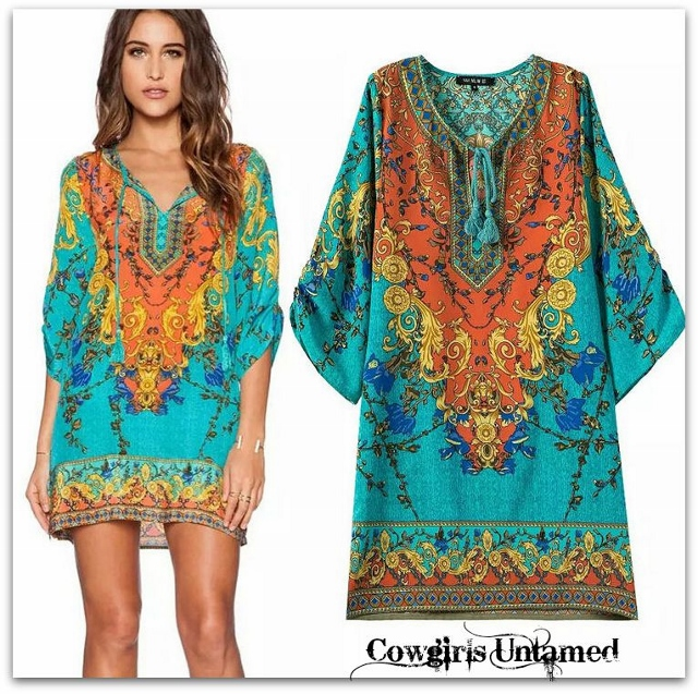 WILD FLOWER TUNIC TOP Tribal Print in Aqua Orange Blue Yellow Tunic Top / Mini Dress