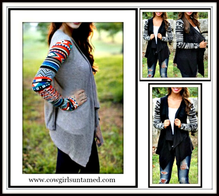 COWGIRL GYPSY SWEATER Tribal Color Knit Long Sleeve Grey Western Cardigan