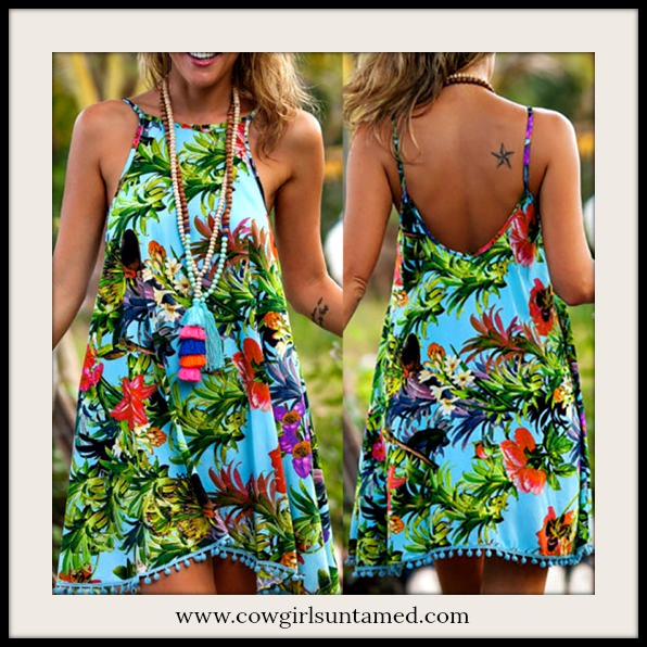SUNDANCE COWGIRL DRESS Teal Pom Pom Trim Tropical Floral Turquoise Sleeveless Mini Dress