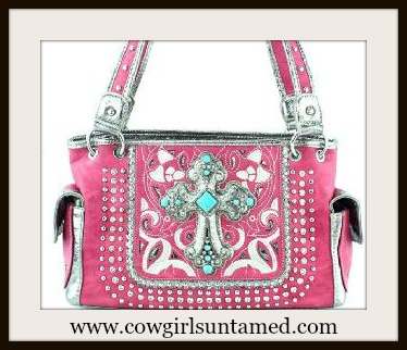 WESTERN COWGIRL HANDBAG Silver N turquoise Cross on Pink Rhinestone Studded Handbag