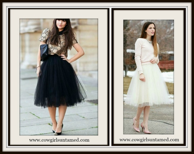 COWGIRL GLAM SKIRT Tulle Elastic Waist Skirt