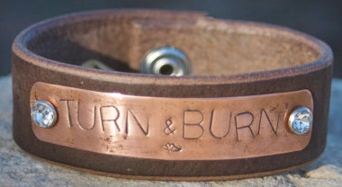 "COWGIRL ATTITUDE CUFF ""Turn & Burn"" Rhinestone Rivet Winged Heart Stamp on Brass Plate Brown Leather Western Cuff Bracelet"