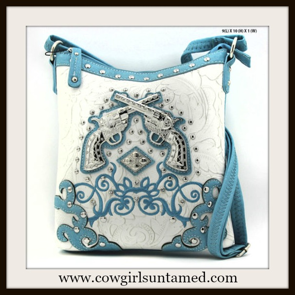 COWGIRL OUTLAW BAG Silver Crystal Sixshooter Blue Turquoise Leather Messenger Bag