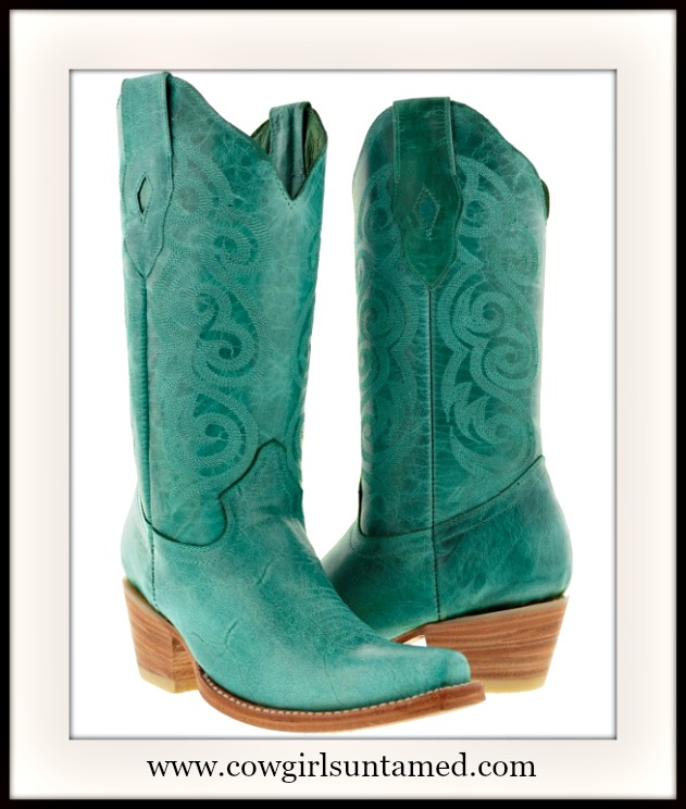 WILDFLOWER BOOTS Embossed Turquoise Snip Toe Leather Cowgirl Boots