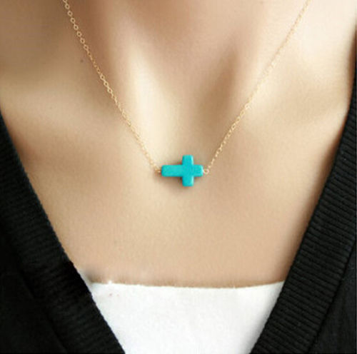 COWGIRL STYLE NECKLACE Turquoise Cross on Golden Chain Necklace