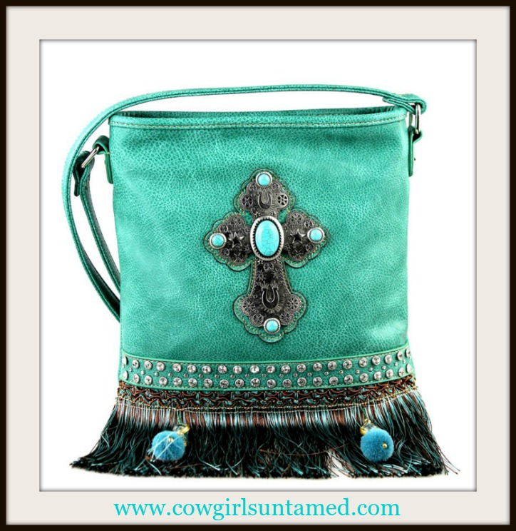 WILDFLOWER HANDBAG Antique Silver Cross Fringe and Pom Pom on Rhinestone Turquoise Messenger Bag