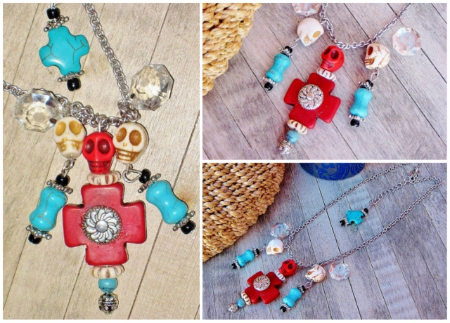 COWGIRL GYPSY NECKLACE Crystals Turquoise Cross Skulls N' Real Bone Charms on Silver Western Necklace