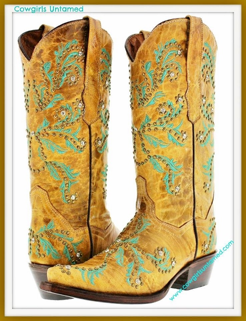 COWGIRL STYLE BOOTS Turquoise Embroidery and Bronze Studded Sandy Genuine Leather Cowgirl Boots