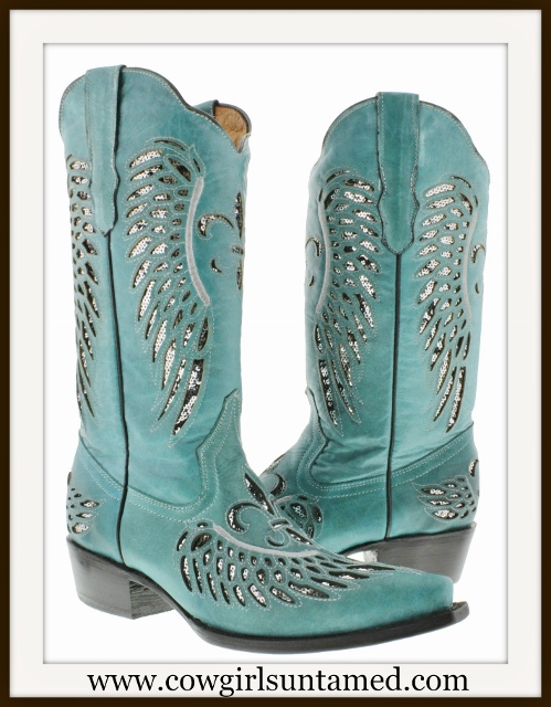 COWGIRL STYLE BOOTS Grey Sequin FLEUR DE LIS & Angel Wing on Turquoise Leather Western Boots