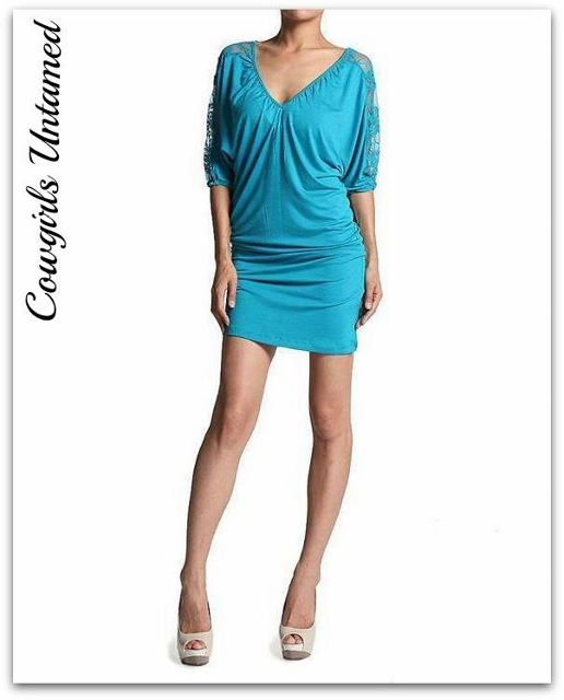 COWGIRL GYPSY DRESS Turquoise Lace Dolman Sleeve Western Mini Dress Beach Cover Up
